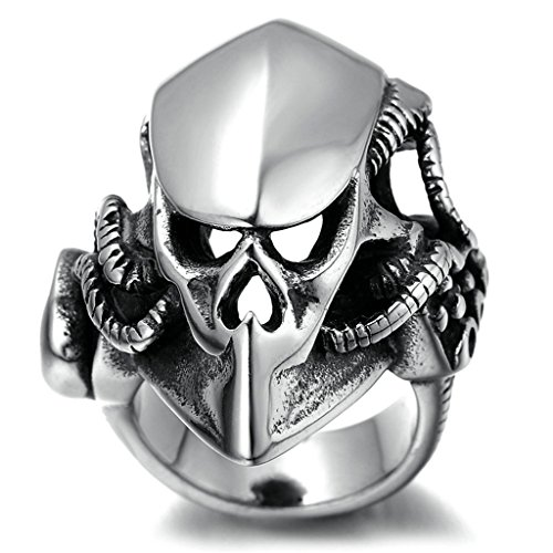 Stainless Steel Ring for Men, Skull Ring Gothic Silver Band 4535MM Size 10 - Vegas Factory Las Outlets