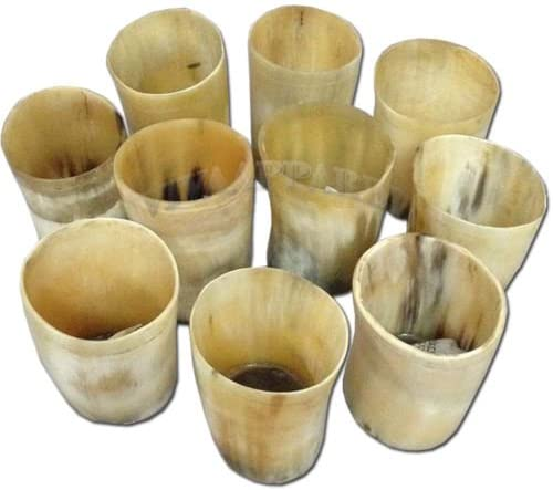 Drinking Beer Wine Mug Natural Genuine Buffalo Mix Horn Glass Set of 10