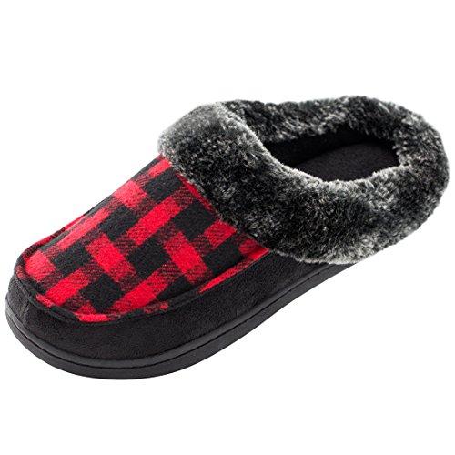 Plaid Slip Shoes (HomeTop Women's Indoor/Otudoor Wool Plush Fleece Lined Slip On Memory Foam Clog House Slippers (US Women's 7-8, Red))
