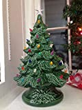 VINTAGE Style Ceramic Christmas Tree - Medium Ceramic Tree 12.5'' tall with Lights and Star