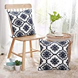 homemade room decorations Deconovo Cotton Canvas Floral Pattern Cushion Covers for Living Room Decoration Navy Blue and White 18x18 Inch Set of 2 No Pillow Insert