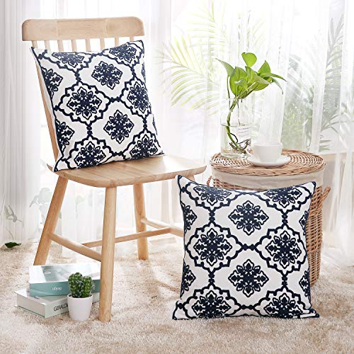 Deconovo Cotton Canvas Floral Pattern Cushion Covers for Living Room Decoration Navy Blue and White 18x18 Inch Set of 2 No Pillow Insert