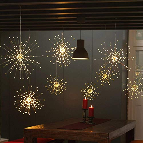 Twinkle Star 120 Led Firework String Lights Battery Operated,Hanging Starburst Light with Remote Control Starry Fairy String Lights Decor for Indoor Outdoor Christmas Party Garden, 2 Pack,Warm -