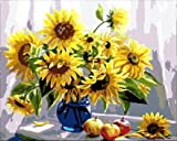 TianMai Version 3.0 HD Paint by Number Kits for Adults PBN Kit Paintworks Digital DIY Oil Painting Canvas Kits for Children Kids Beginner White Christmas Decorations Gifts - Sunflower (N1, Framed)