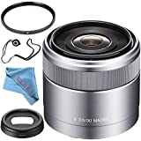 Sony E 30mm f/3.5 Macro Lens SEL30M35 + 49mm UV Filter + Fibercloth + Lens Capkeeper Bundle