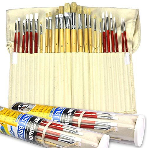 (24 Piece Premium Paint Brush Artist Brush Set for Watercolor Oil Acrylic Painting with Canvas Holder,Paint Brushes for Kids,Office,School,Brush Set)