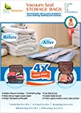 Vacuum Storage Bags, 8 Multi-size Premium Quality Space Saver Compression Bags (Jumbo, XL, Large, Medium, Travel Roll-up) - Ideal for Clothing, Comforters, Pillows, Bedding