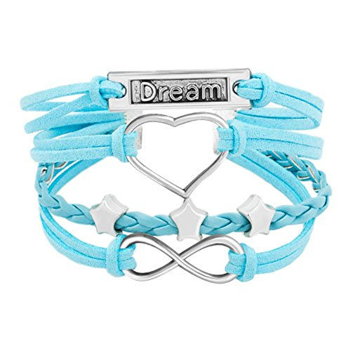 Tiffany Star Bracelet (LovelyJewelry Infinity Heart Bracelet Star Engraved Dream Blue Braided Leather Bracelets)