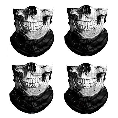 3D Skull Print Face Bandana Neck Gaiter, Sun UV Protection Half Mask Scarf, Reusable Motorcycle Balaclava for Men Women