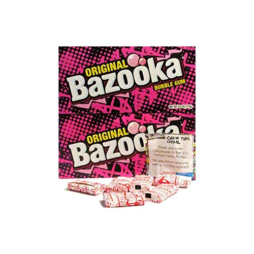 (Original Bazooka Bubble Gum Party Box Individually Wrapped Pieces with New Comics Games and Activities 4.0 Oz (2 Pack))