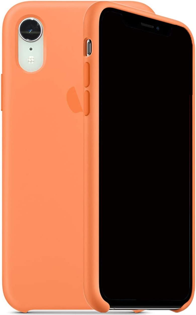 Auralto Liquid Silicone Case Protective Cover Shockproof Slip Proof Shell Logo on Back Compatible with 2018 iPhone Xr 6.1'' (Papaya)