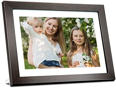 AEEZO Digital Picture Frame WiFi 10.1 Inch IPS Touch Screen HD Display, 16GB Storage, Auto-Rotate, Share Photos Videos via Free Frameo App, Wall Mountable Digital Photo Frame with Brown Wood Frame