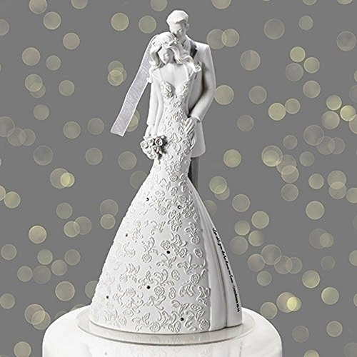 Roman, Inc White Cherish Bride and Groom 9 inch Resin Stone Cake Topper Figurine