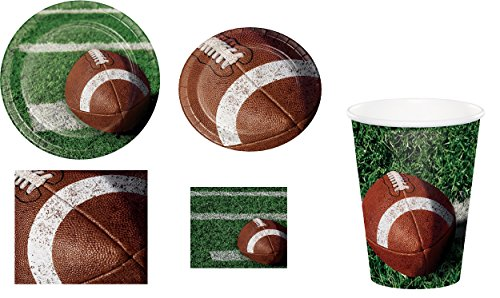 Football Party Bundle for 8: 8 Tailgate Rush Dinner Plates, 8 Lunch Plates, 18 Lunch Napkins, 18 Beverage Napkins and Eight 9 Ounce Hot/Cold Cups (8 Party Plates)