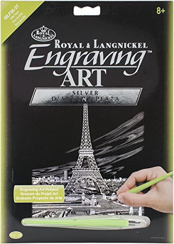 Engraving Royal Art (Royal Brush Silver Foil Engraving Art Kit, 8-Inch by 10-Inch, Eiffel Tower)