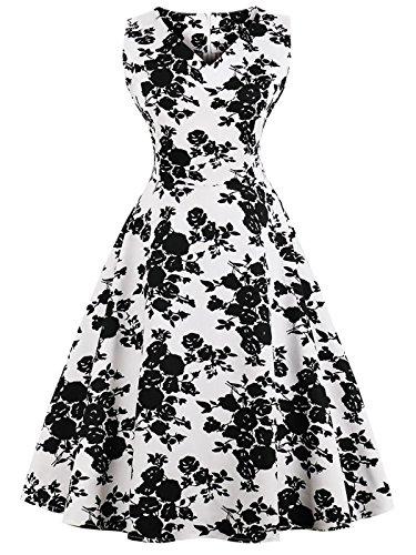 FAIRY COUPLE 1950S Vintage Rockabilly Lunares Vestido de Baile DRT072(M,Flores Negras Blancas)