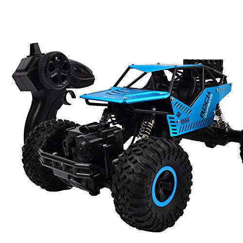 - [RC Off-Road Car]1:16 2.4GHz High Speed Remote Control Alloy 4WD Monster Buggy Crawler Off Road Car (Blue, 1:16)
