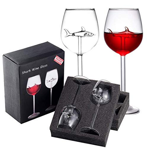 Missyo Shark Wine Glasses Set Of 2 10 Oz Crystal Goblets Red Wine Glasses With Novelty Great Gift Packaging For Women Men Wedding Anniversary Valentine S Day Birthday Party Buy Online In Dominica