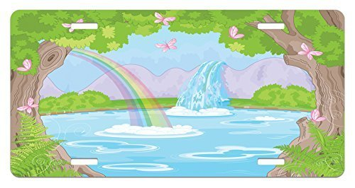 zaeshe3536658 Teen Girls License Plate, Print of Fairy Landscape with Waterfal Rainbow Lake Butterflies MagicaLand, High Gloss Aluminum Novelty Plate, 6 X 12 Inches, Green Blue by zaeshe3536658
