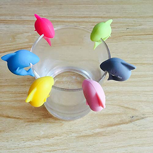 Markers Marker - 6 Pcs Set Silicone Cute Fish Tongue Dedicated Glass Cup Recognizer Marker - Cute Fishing Markers Marker Fish Spoon Rests Clips Marker Back Cover Galaxy Stand Glass Recognize