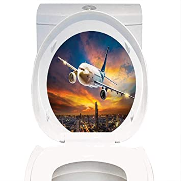 amazon com toilet seat wall stickers paper travel decor aerial view
