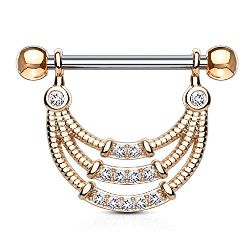 - Dynamique Lined CZ Set Center Triple Lined Dangle 316L Surgical Steel Nipple Ring (Rose Gold/Clear-Pair)