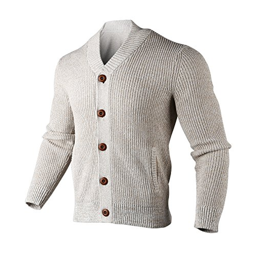 BeMoreWithLess Men's Shawl Collar Ribbed Button-up Cardigan Sweater