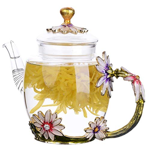 Safe Durable Floral Glass Teapot with Gold Leaves Edge Colourful Flower Pattern Floral Vintage Teapot Tea Party Set (Green)