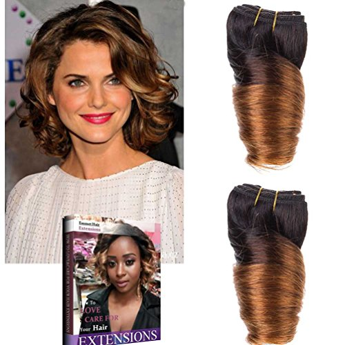 Emmet 8Inch Brazilian Loose Wave Spring Curly Hair Weaves for Bob Wave 2pcs/Lot 50g/pc 100% Human Hair Bob Wave Weft, with Hair Care Ebook (1B/30)