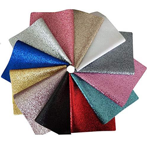 Yazon Shinny Glitter Sheet Canvas Backing Superfine Faux Leather Glitter Fabric Sheet 12pcs 8