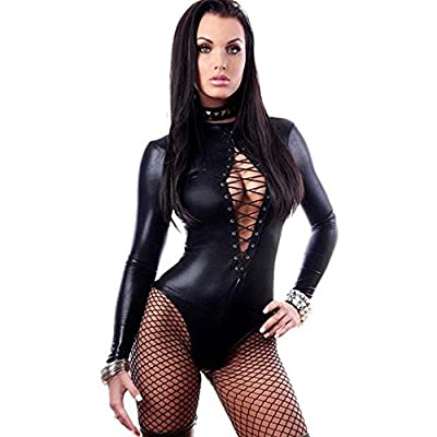Lingerie,UPLOTER Sexy PVC Leather Like Tight Coverall Bodysuits