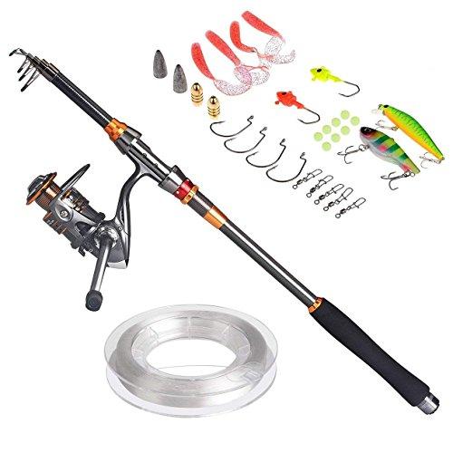 PLUSINNO Fishing Rod Reel Combos Full Kit,Carbon Telescopic Fishing Rod Pole Spinning Reel Travel Saltwater Freshwater Fishing Rod Kit