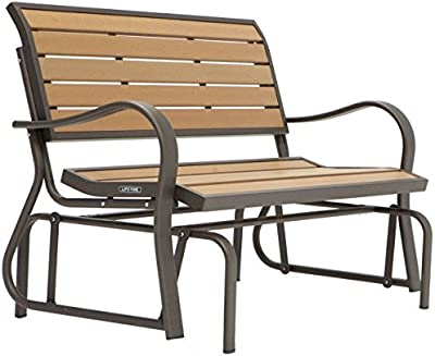 Outdoor Glider Bench Swing Chair, Sturdy and Long Lasting Steel Frame and Wood Alternative Construction, Weather Resistant Polystyrene, Smooth Glide, Perfect for Patio or Porch, Brown Finish