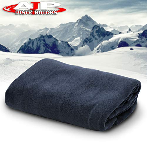 12V Car Truck Heated Blanket Electric Fleece Travel Heating Seat Blanket Throw Automotive Vehicle Road Travel Trip RV Soft Polar Fleece Winter Cold Weather- Anti-Flammable Material (Navy Blue)