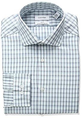 Calvin Klein Men's Non Iron Slim Fit Arrow Print Spread Collar Dress Shirt
