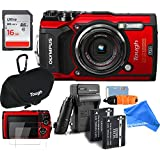 Olympus TG-5 Waterproof ALL YOU NEED RUGGED Digital Camera BUNDLE + DigtalAndMore Micro Fiber Lens Cleaning Cloth (RED, 16GB SD CARD)