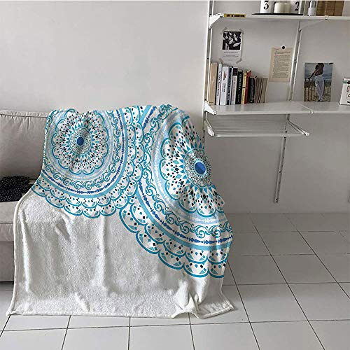 (Khaki home Children's Blanket Spring Lightweight All-Season Blanket (60 by 70 Inch,Mandala Decor,Wedding Invitation Card Theme Lace Mandala and Place for Text Print,Sky Blue Light Blue)