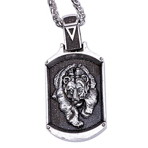 Paw Paw House Mens Wolf Head Necklace Pendant for Dog Lover Men Norse Viking Warrior Arrow Headed Amulet Jewelry (4117Si)