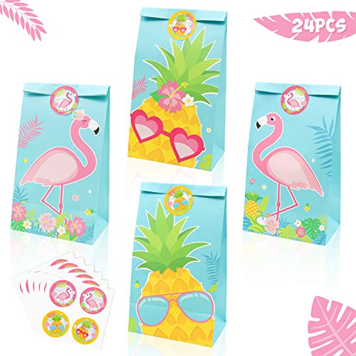 24 Pack Flamingo Party Goodie Bags Pineapple Candy Treat Bags with Thank You Stickers for kids Flamingo Birthday Party Supplies Hawaiian Luau Tropical Baby Shower Summer Decorations]()