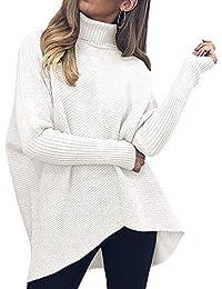 Womens Turtleneck Long Sleeve Sweater Irregular Hem Casual Pullover Knit Tops