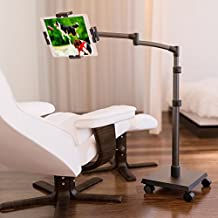 LEVO Deluxe iPad Floor Stand for all Best Tablet PCs, iPads, iPad Mini, New iPad Pro, Galaxy, Nexus, Xoom, Surface Pro, Miix, Nook, Fire, and Other Tablets and e Readers Gunmetal Color - G2