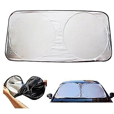 Brotechno 59-Inch X 27-Inch Folding Windshield Sun Shade for Car, Nylon, Black / Silver