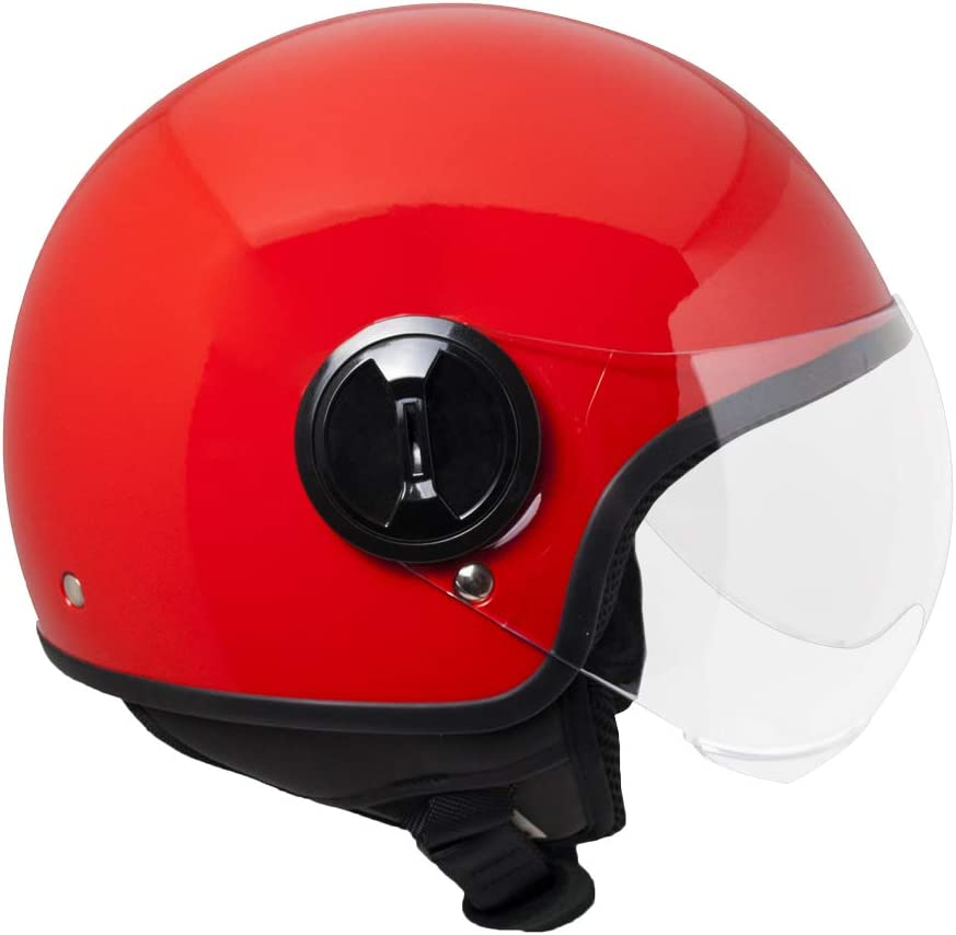 53-54cm Rosso metal SKA-P Casque demi jet 1WH WOLLI XS