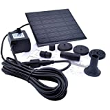 TOOGOO 1.2 Watt Solar Power Water Pump Garden Fountain / Submersible Pump with Suckers at the Bottom, Features A Square Solar Panel to Be Staked on the Ground