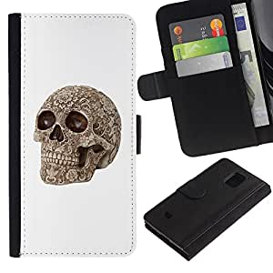 KLONGSHOP / Tirón de la caja Cartera de cuero con ranuras para tarjetas - White Skull Pattern Rose Floral Bone - Samsung Galaxy S5 Mini, SM-G800, NOT S5 REGULAR!