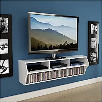 Pemberly Row Plus 58 Floating TV Stand in White