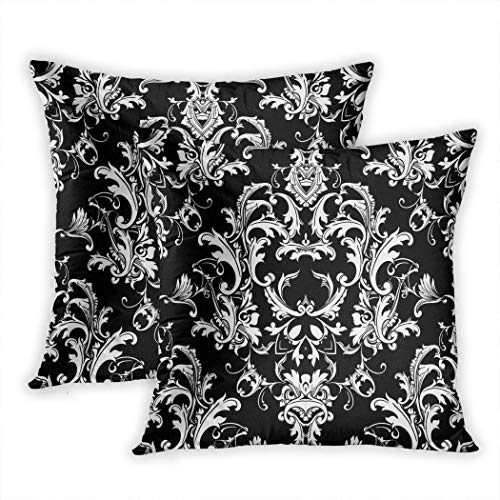 (Sgvsdg Set of 2 Throw Pillow Cover Beautful Baroque Damask Black White Floral Elegance Flowers Scroll Swirl Leaves Antique 16 X 16 Inch Square Hidden Zipper Home Cushion Decorative Pillowcase)
