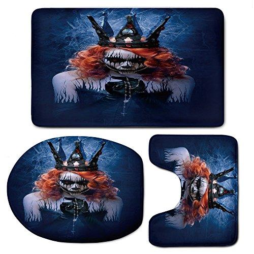 Bath Mat,QueenBathroom Carpet Rug Non-Slip 3 Piece Toilet Mat Set,Queen of Death Scary Body Art Halloween Evil Face Bizarre Make Up -