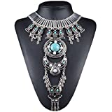 NABROJ Silver Crossover Harness Bikini Waist Belly Body Jewelry for Women Vintage Boho Necklace with Long Turquoise Necklace 1 pc with Gift Box- STL06 Silver
