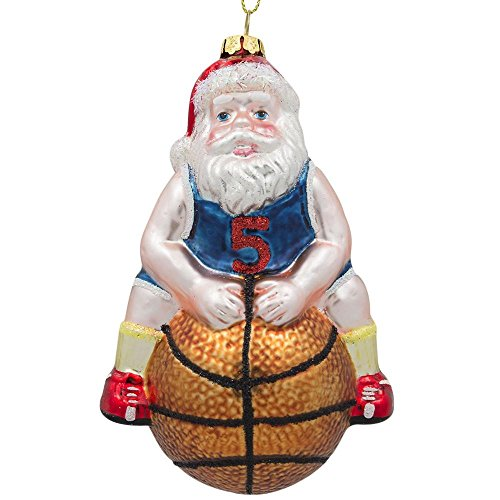 BestPysanky Santa Basketball Player Glass Christmas Ornament 5